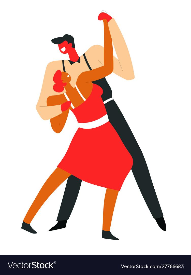 Couple dancing tango and performing on dancefloor
