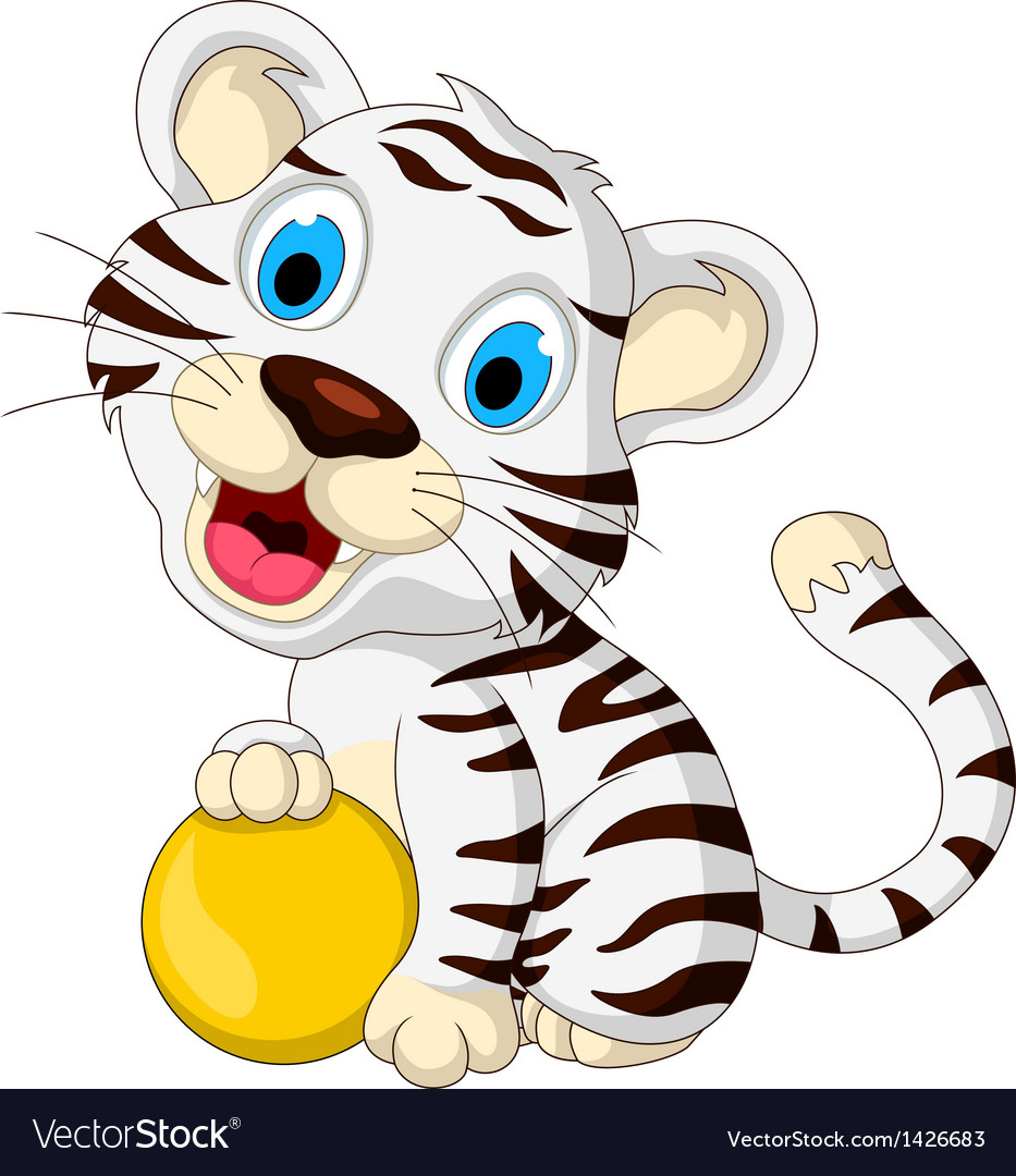 Cute baby white tiger posing with yellow ball