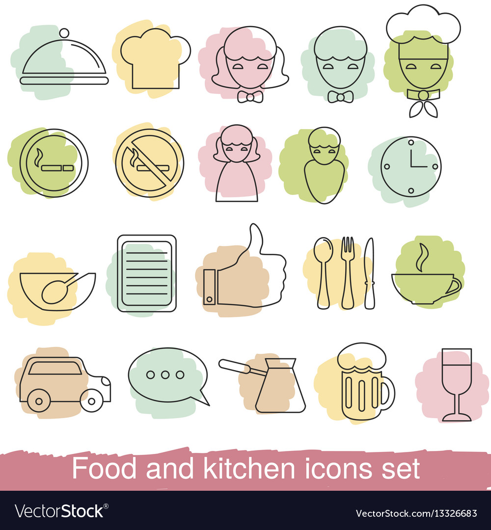 Food and kitchen line icons food and kitchen line