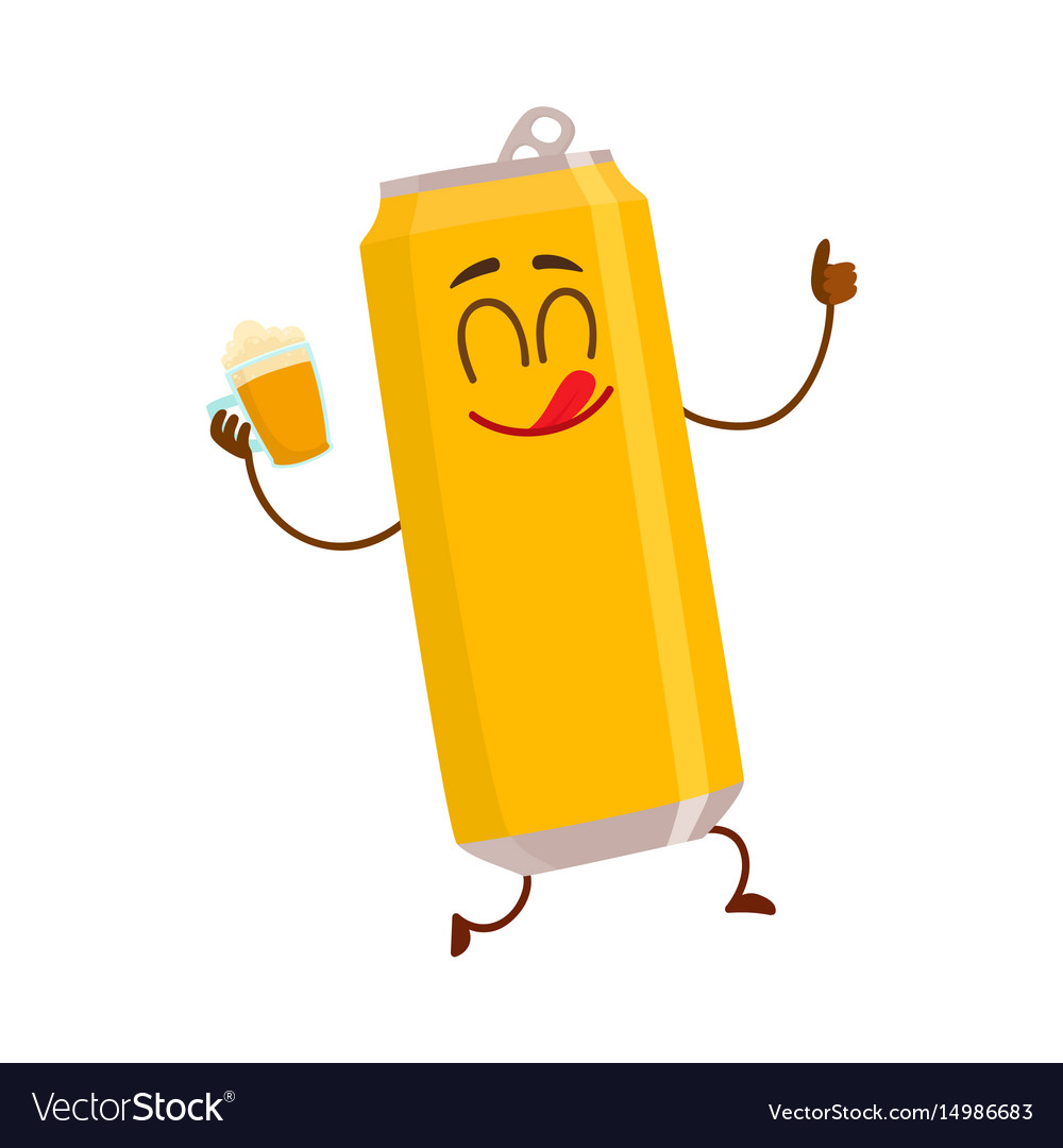 Funny smiling beer can character drinking showing