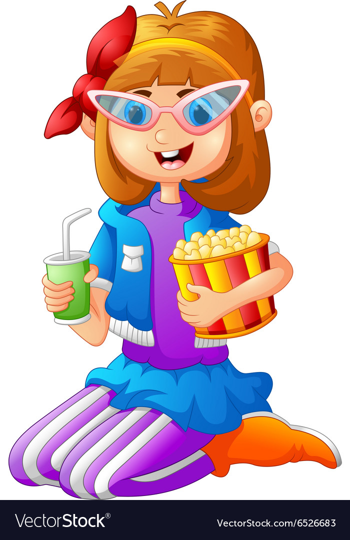 Girl Having Pop Corn and Cold drink