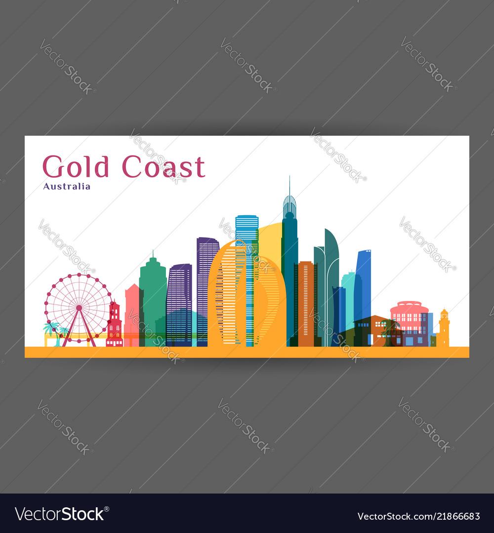 Gold coast city architecture silhouette colorful