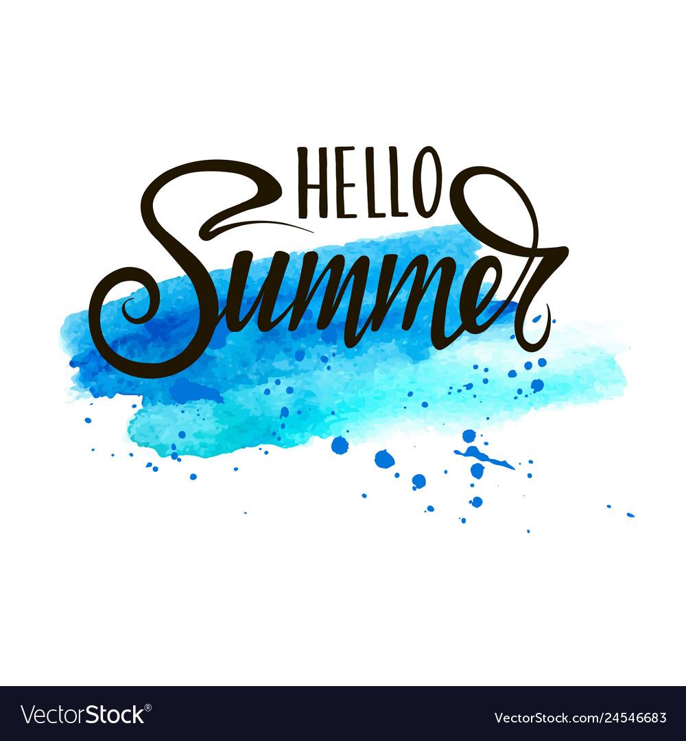 Inscription hello summer on blue background