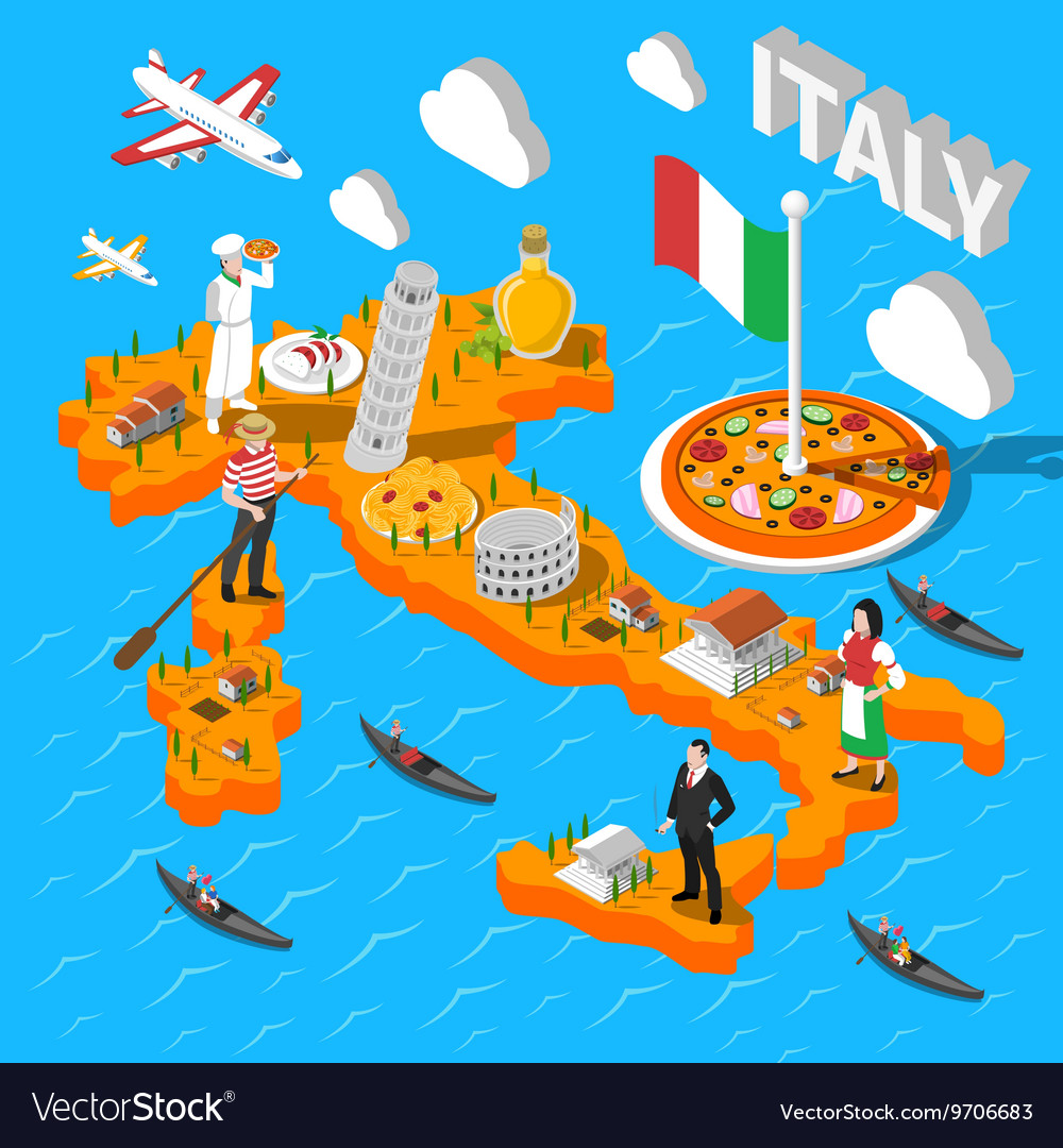 Map Of Italy For Tourists.Italy Isometric Sightseeing Map For Tourists Vector Image