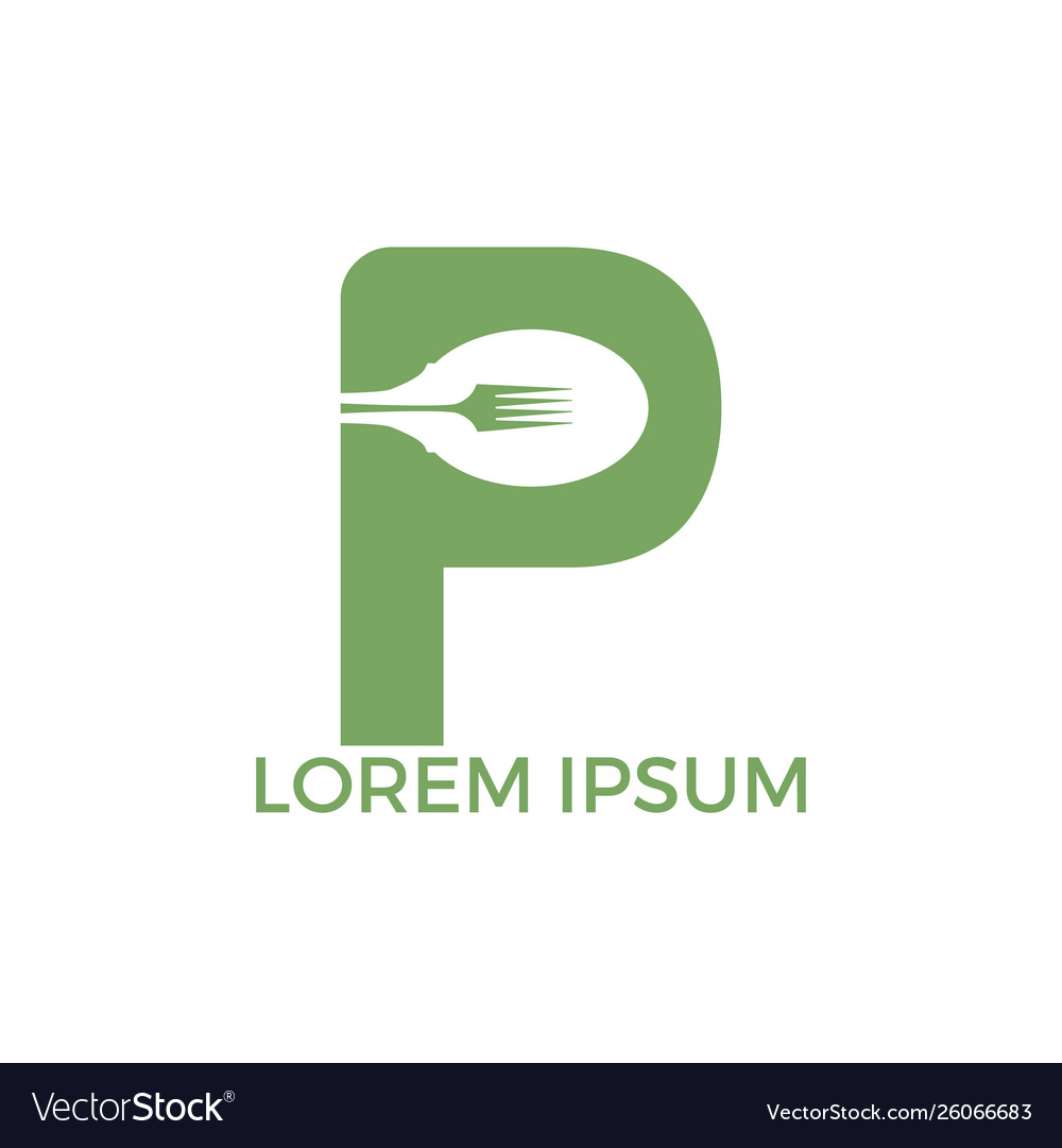 Letter p food logo template