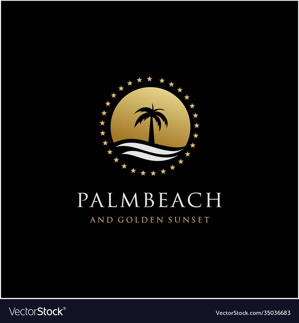 Palm tree and golden sunset color logo design