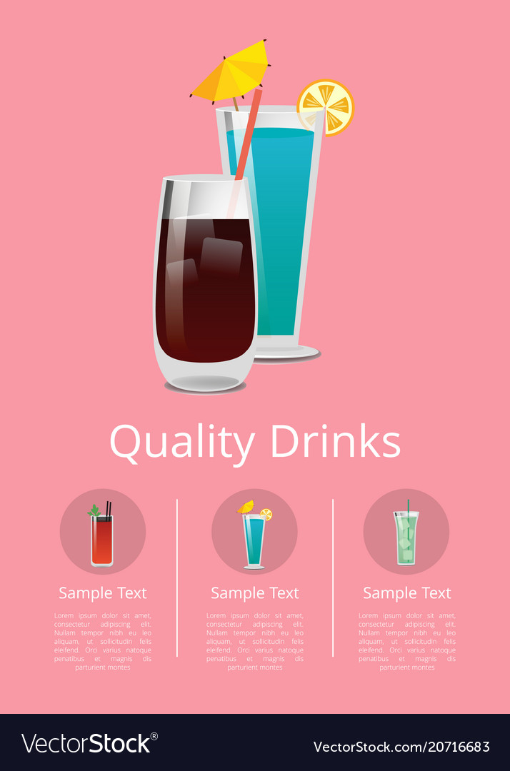 Quality drinks promo poster with cocktail of vodka