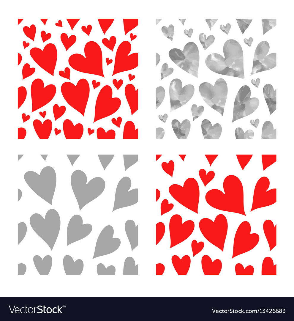 Red and gray hearts seamless pattern se