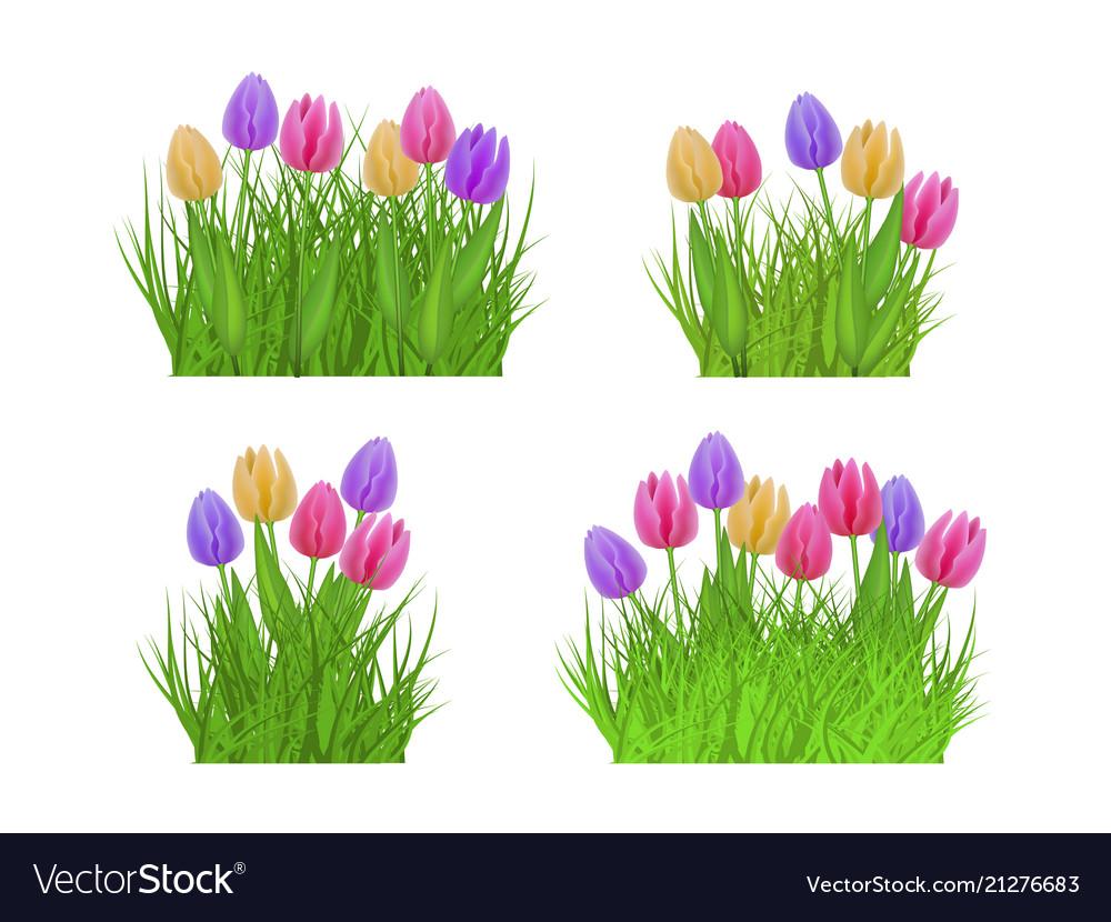 Spring floral bundles of different widths set with