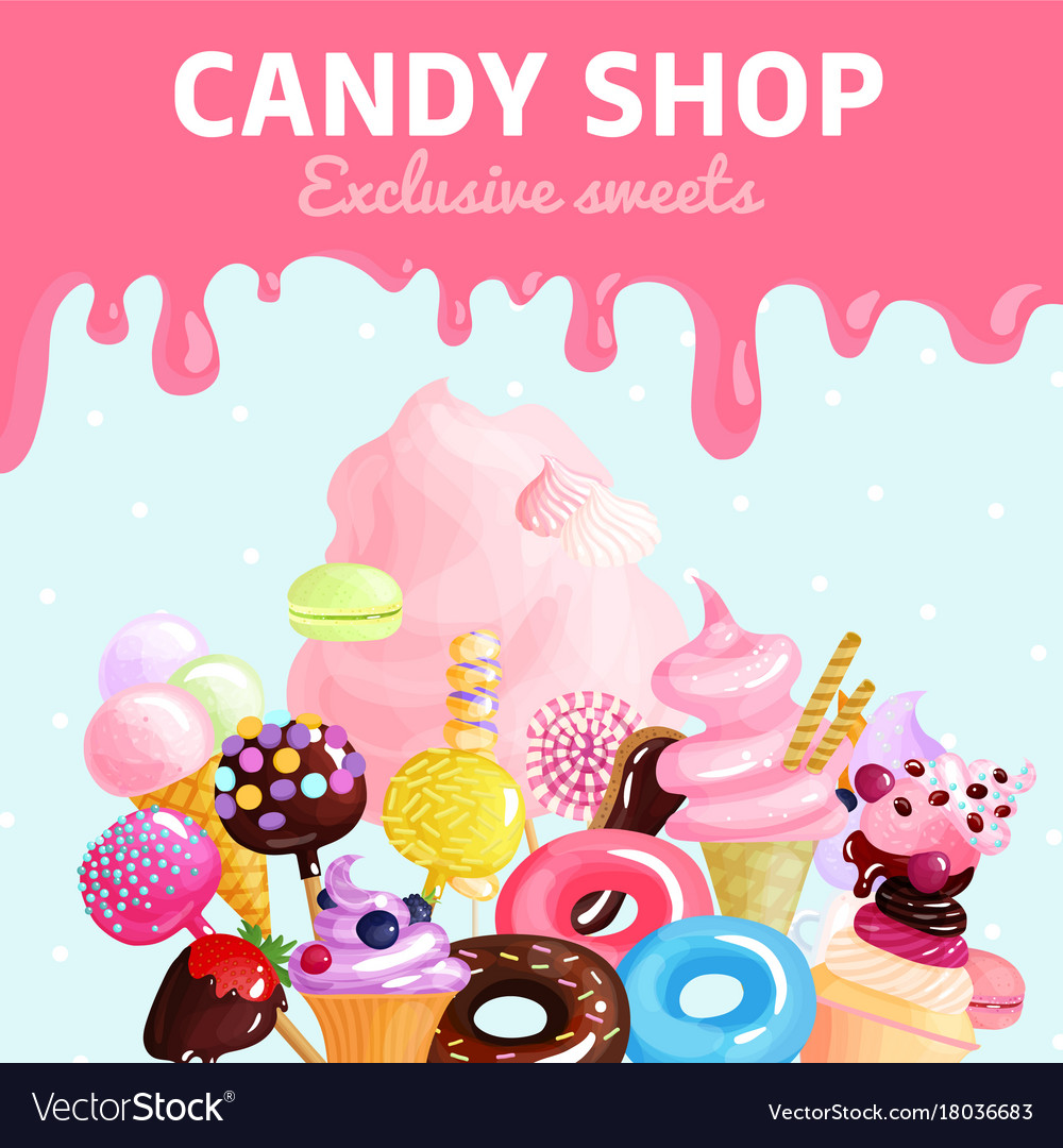 Sweets candy shop poster