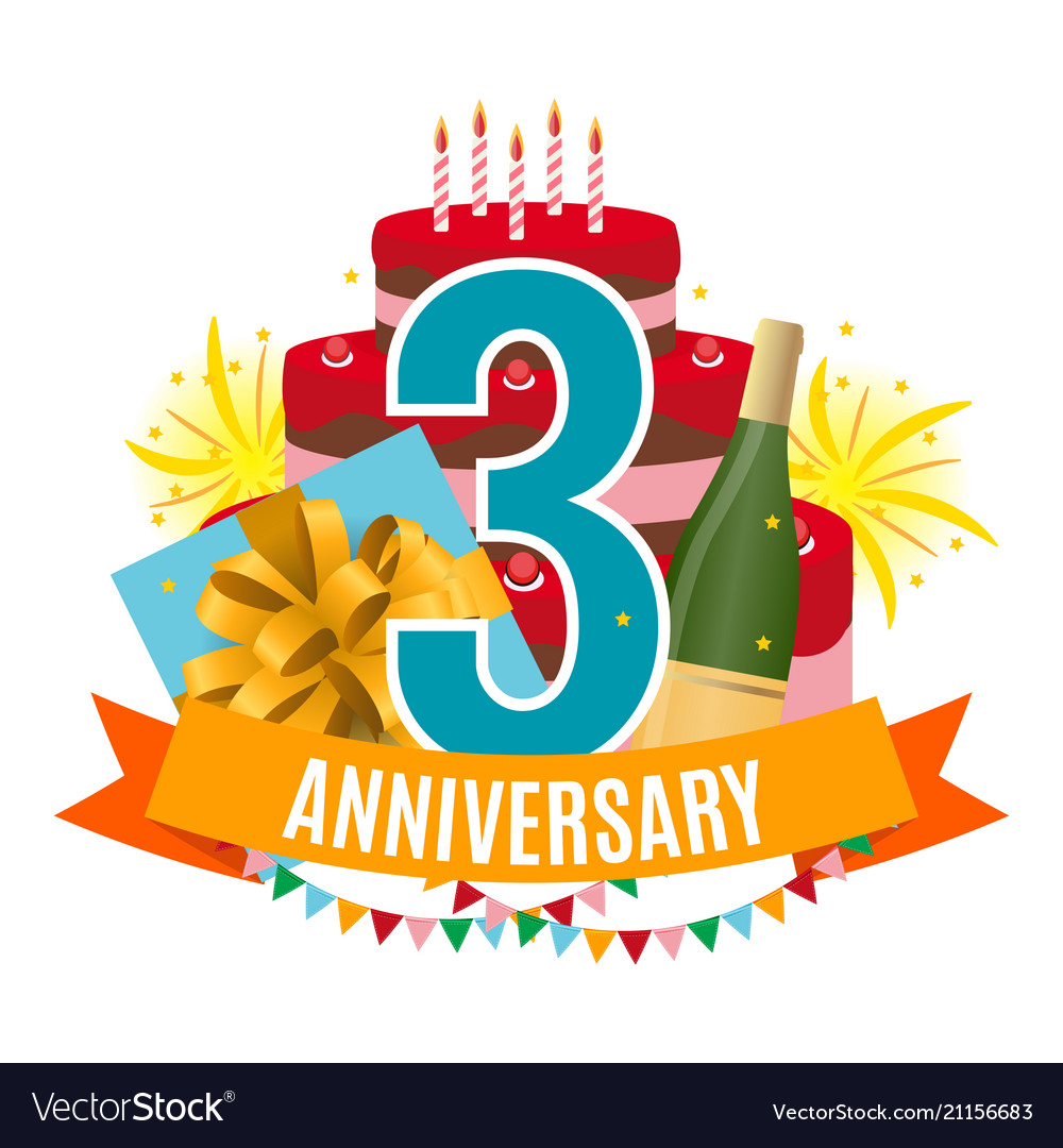 Template 3 years anniversary congratulations Vector Image