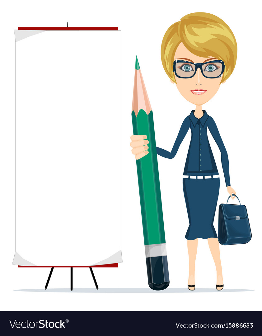 Woman holding a pencil and stands near a blank