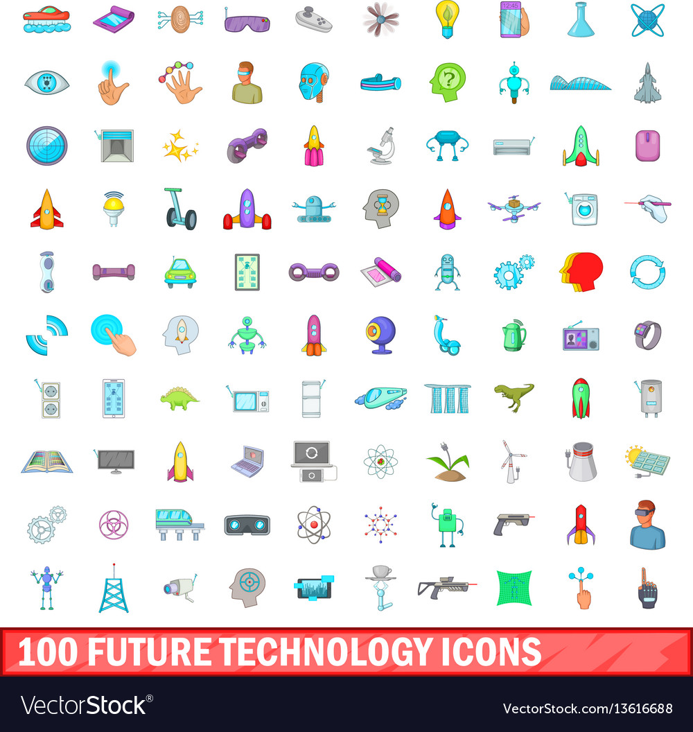 100 future technology icons set cartoon style