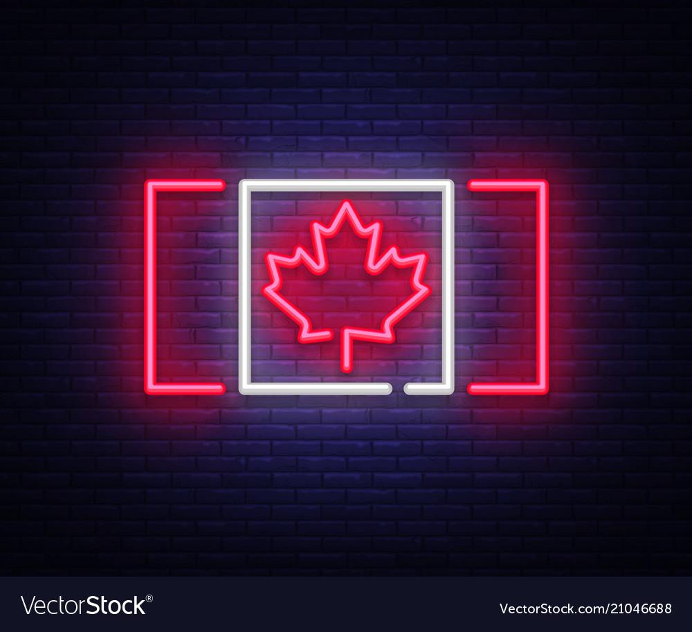 Canada flag neon sign canada flag symbol
