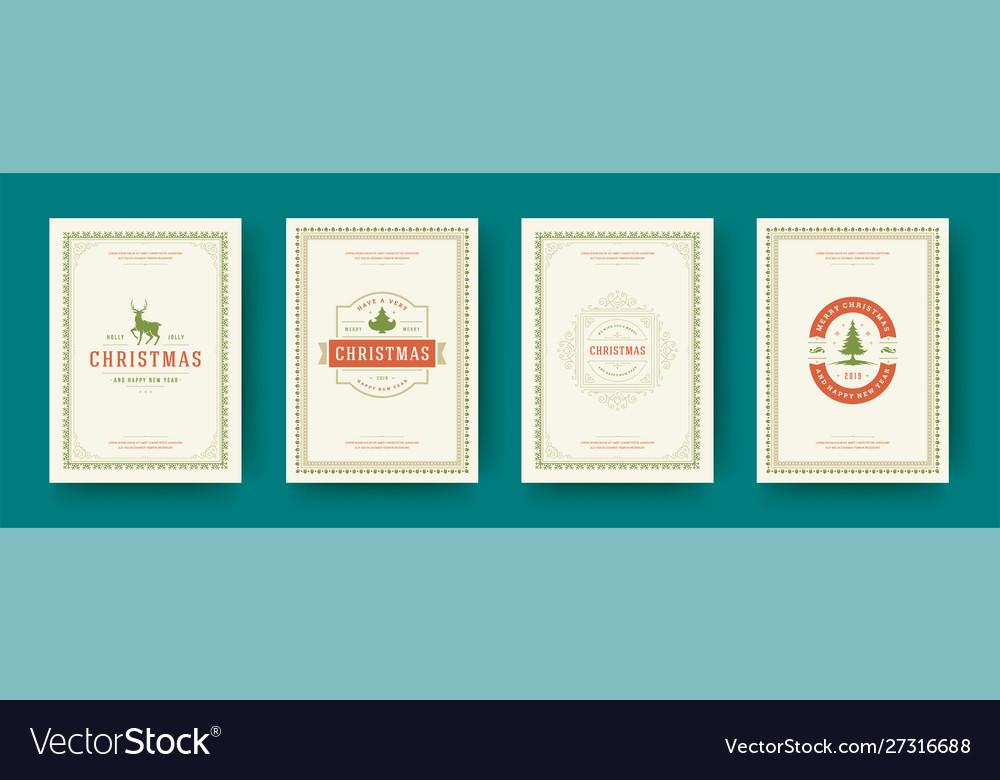 Christmas cards vintage typographic design ornate