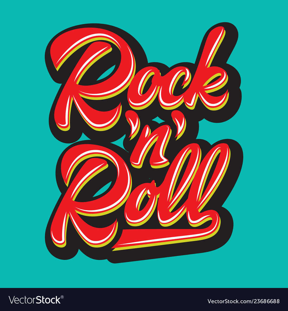 Color calligraphic inscription rock and roll