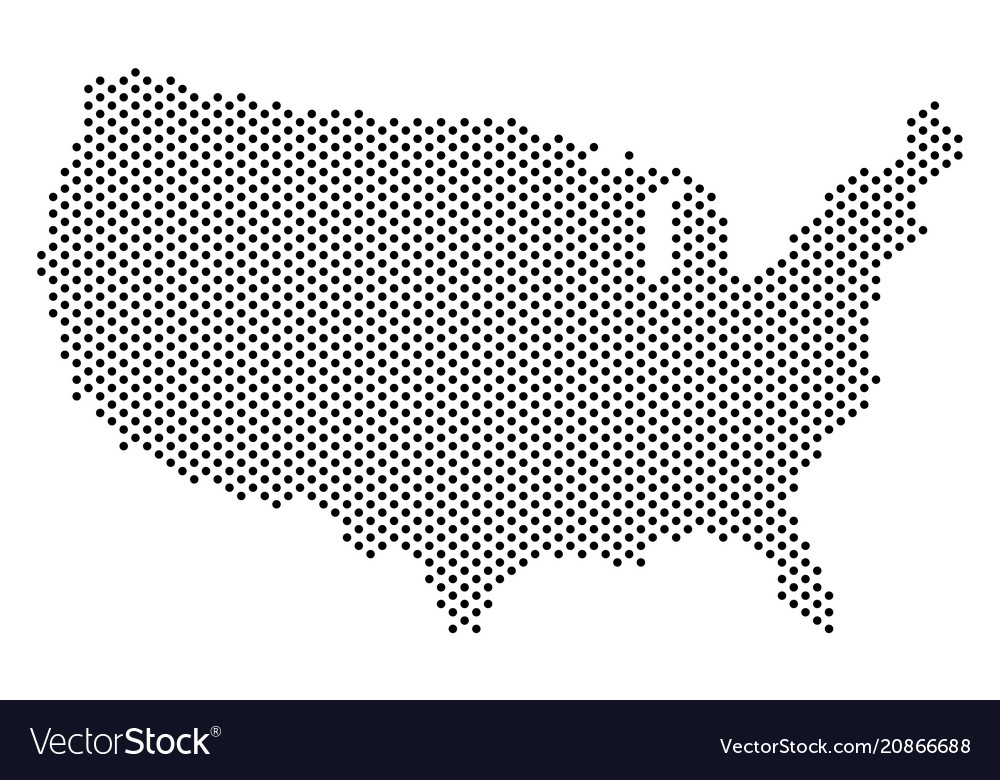 Map Of Usa Vector.Dot Usa Map Royalty Free Vector Image Vectorstock