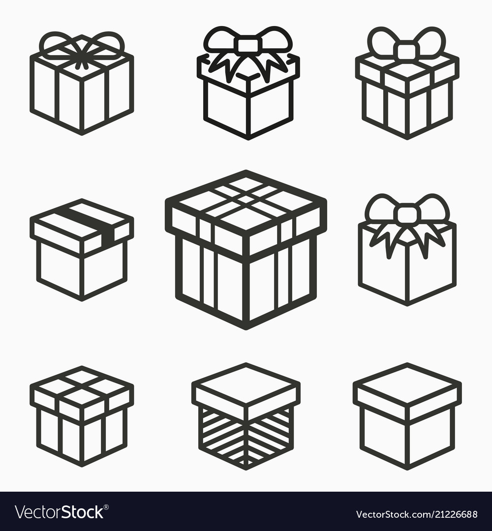 Gift box surprise icons set of present package