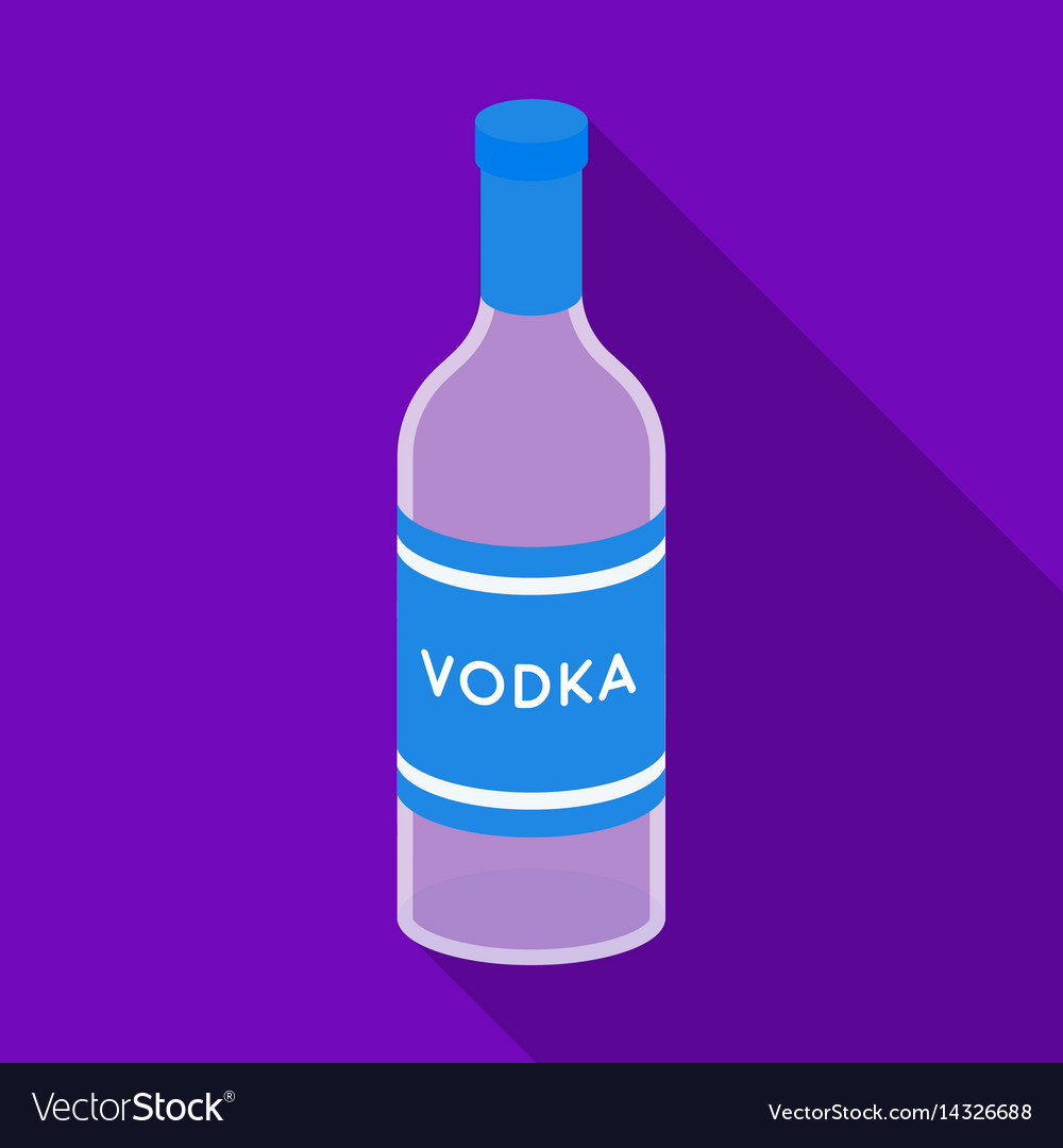 Glass bottle of vodka icon in flat style isolated