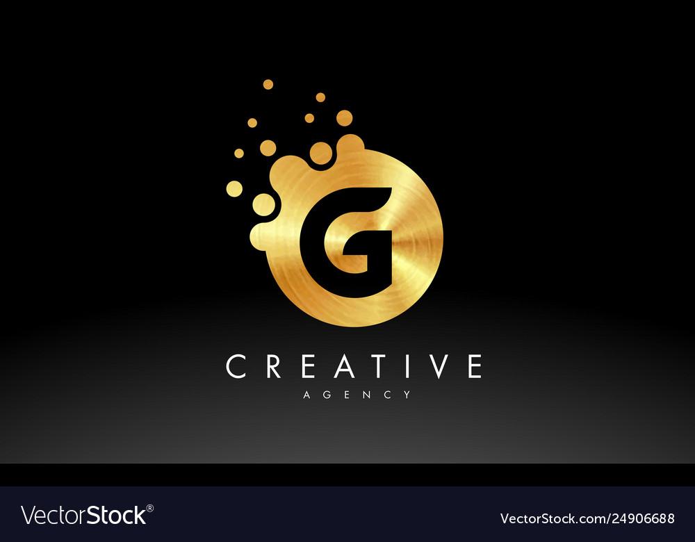 gold metal letter g logo g letter design vector image vectorstock
