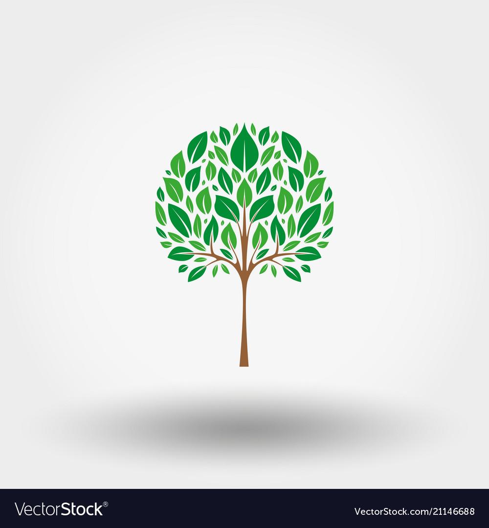 Green tree icon flat