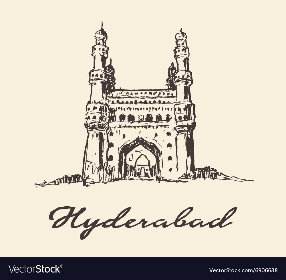 Hyderabad India Charminar drawn sketch
