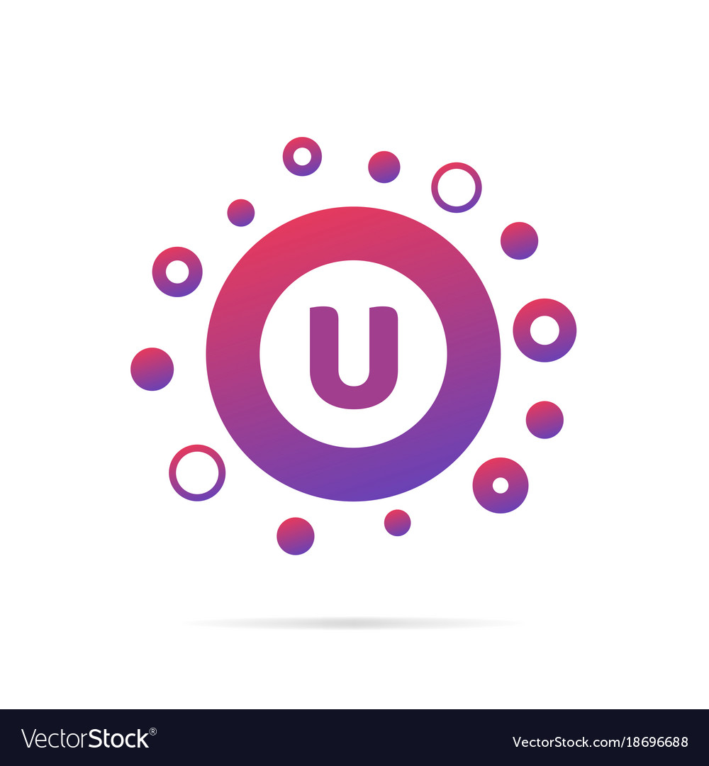 Letter u with dots logo design
