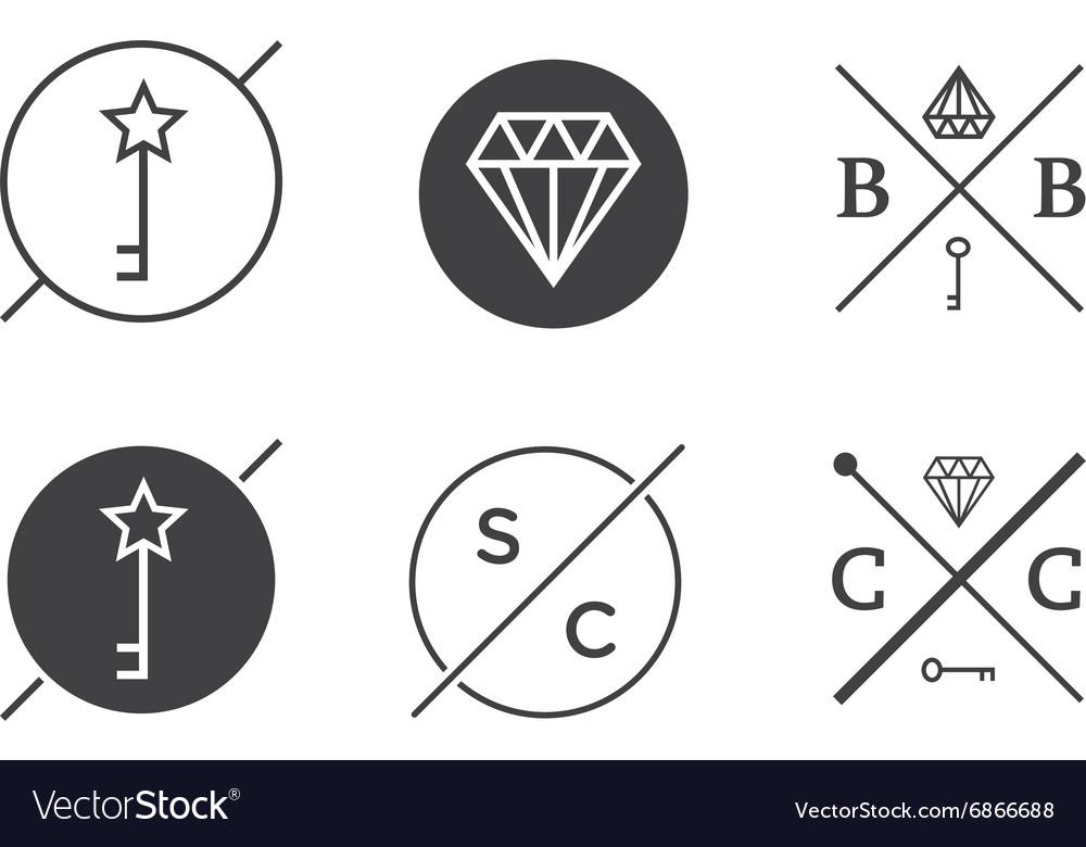 Set of Outline Badges or Emblems Abstract Hipster
