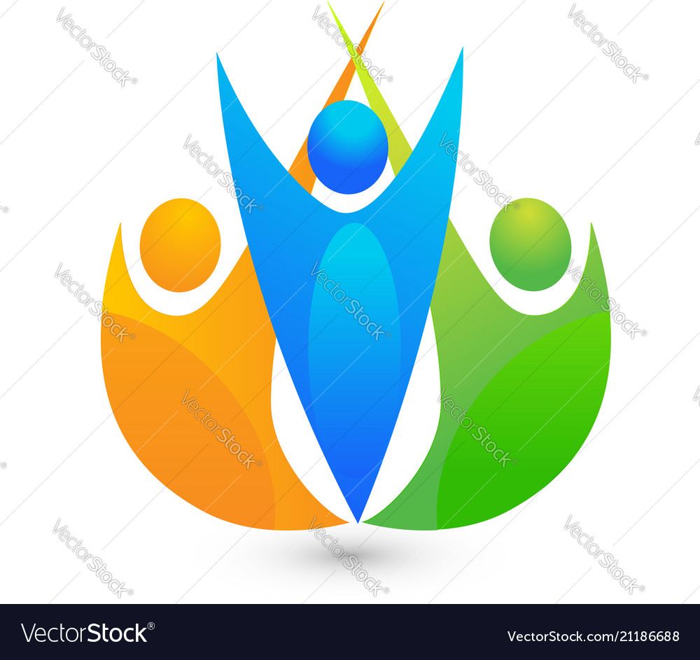Achievement Logo teamwork people celebration achievement symbol vector image