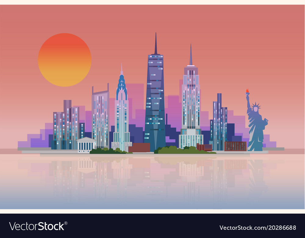 The Landscape Of Skysers New York City With Vector Image