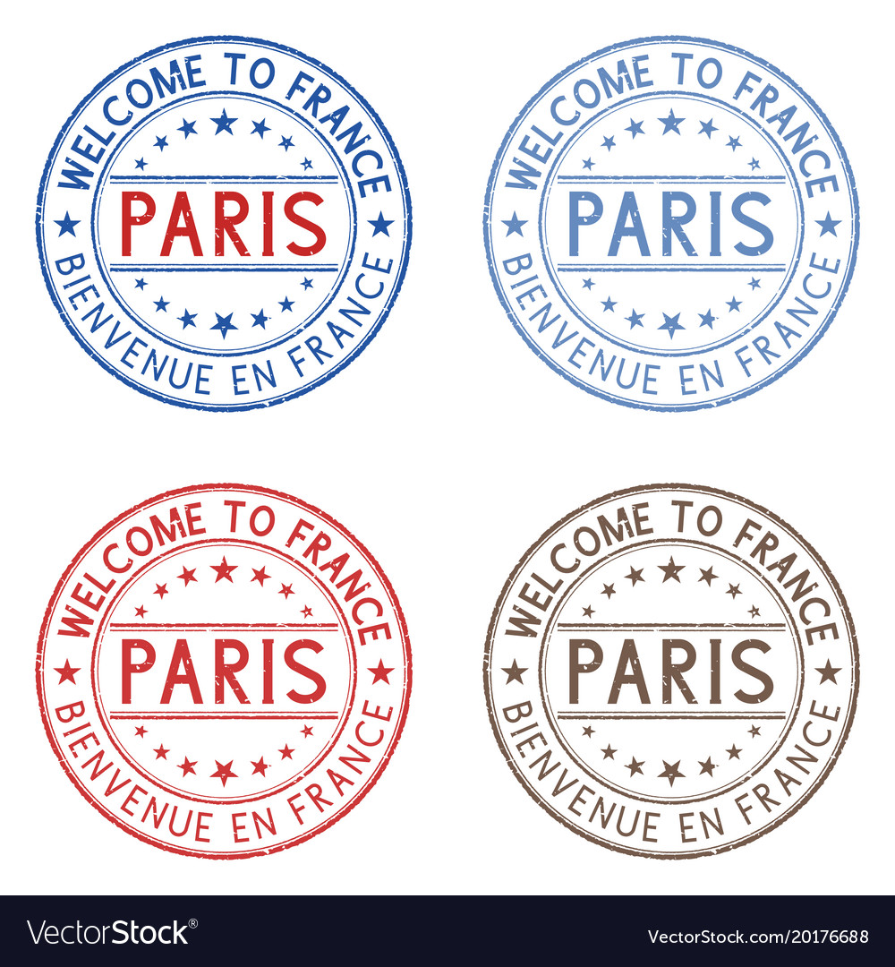 Welcome to paris france colored collection on