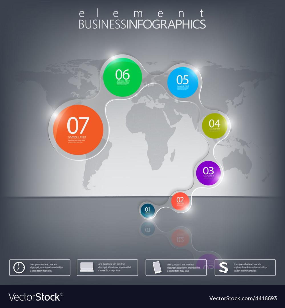 3D element Infographics on black background