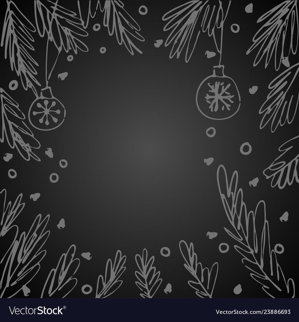 Blank speech bubble fir tree branches