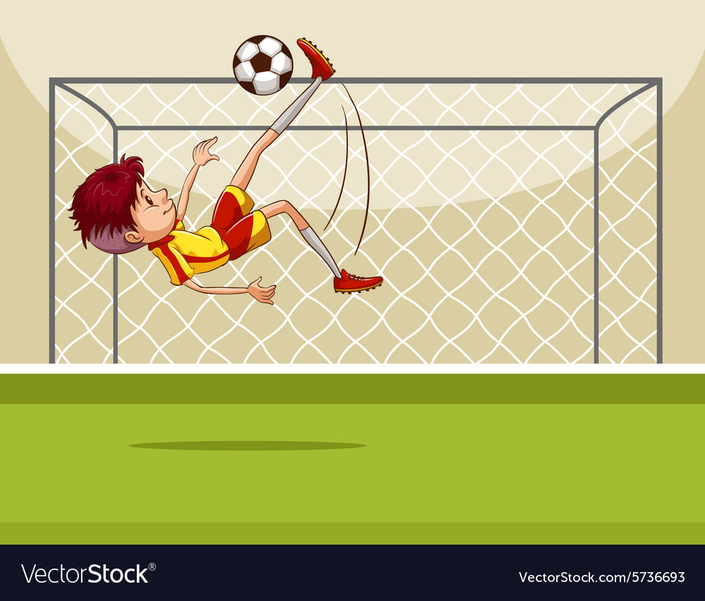 Boy kicking ball in the field vector image