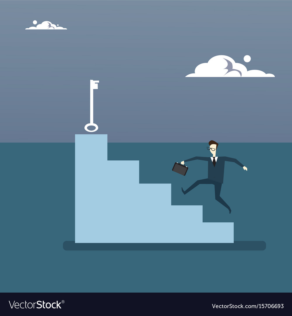 Businessman climb stairs up to key business man