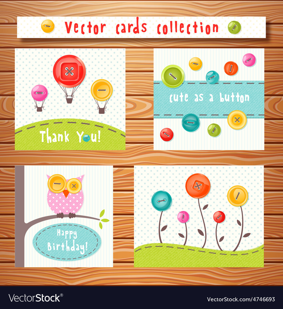 Cards collection with cute buttons Perfect
