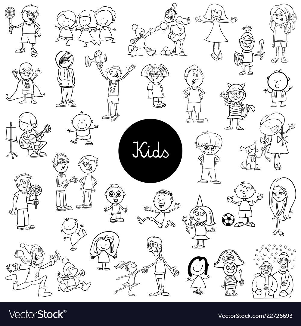 - Cartoon Kids Characters Set Coloring Book Vector Image
