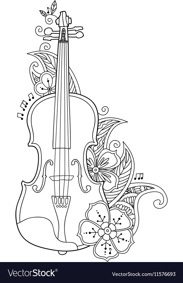 Coloring Page Violin With Flowers And Leafs Vector Image