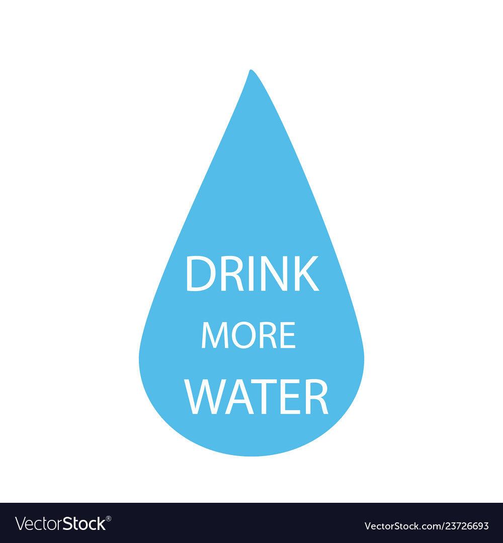 Drink more water quote in water drop isolated on