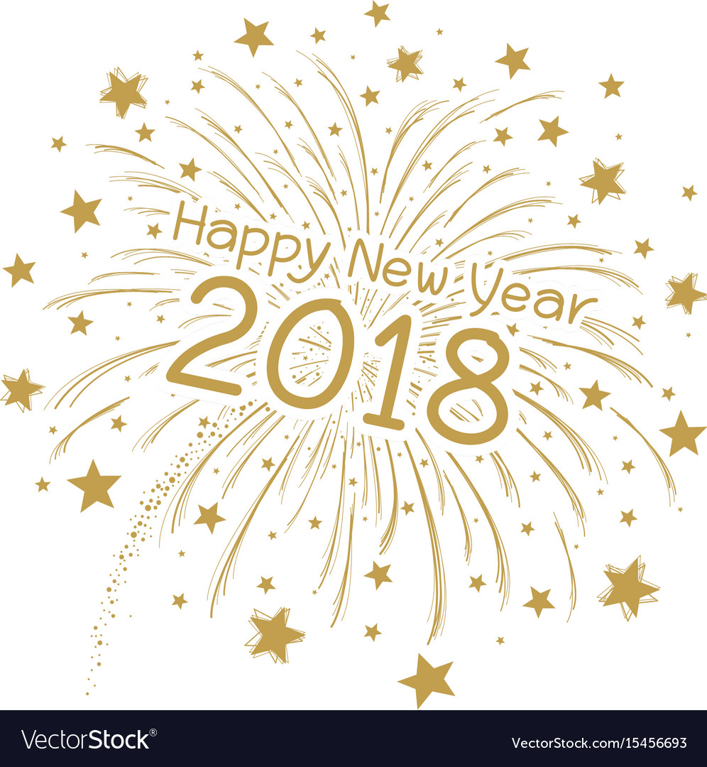 Firework with happy new year 2018 vector image