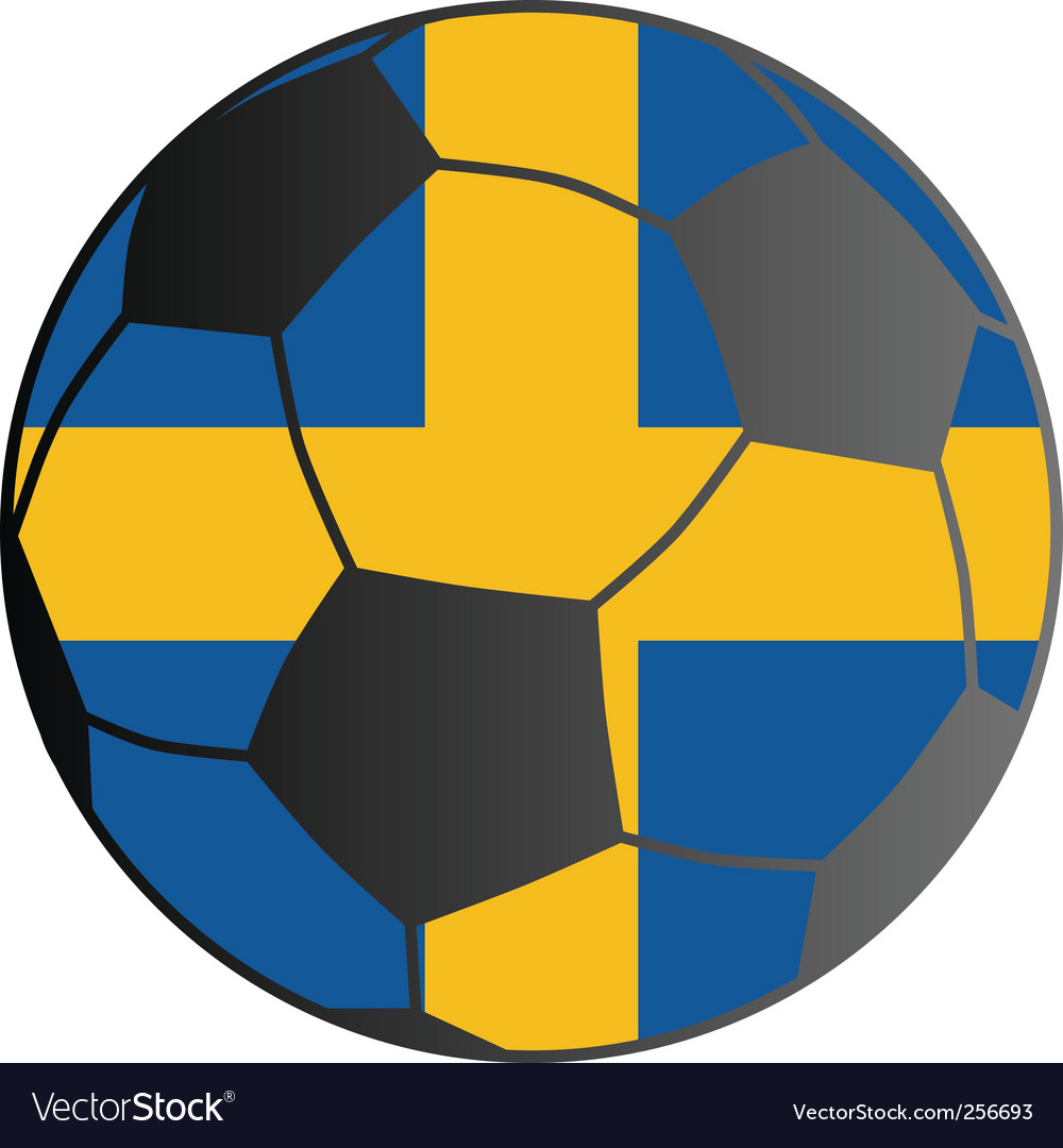 Flag of Sweden and soccer ball vector image