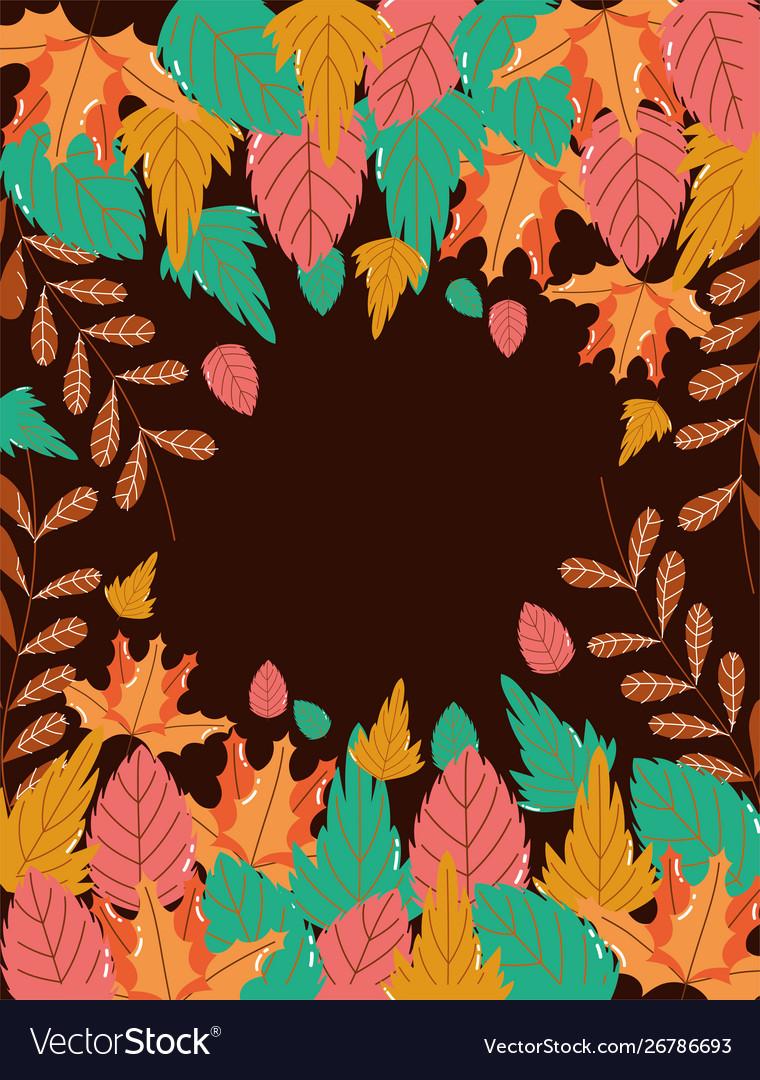 Hello autumn foliage leaves border decoration
