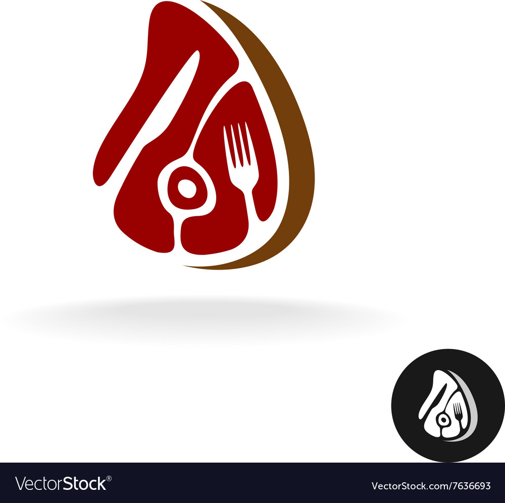 Meat piece with fork and knife logo Restaurant