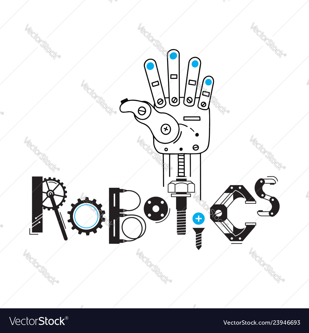 Mechanical arm from the robot and the inscription