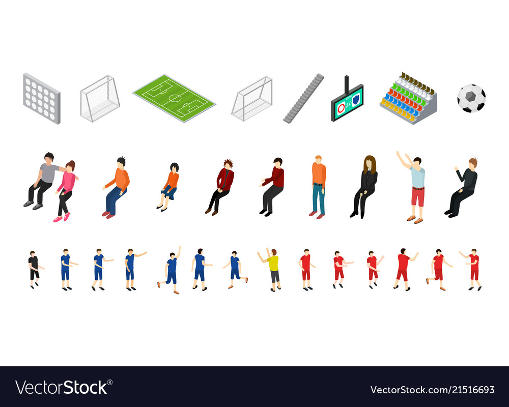 Soccer icons set sport game isometric view