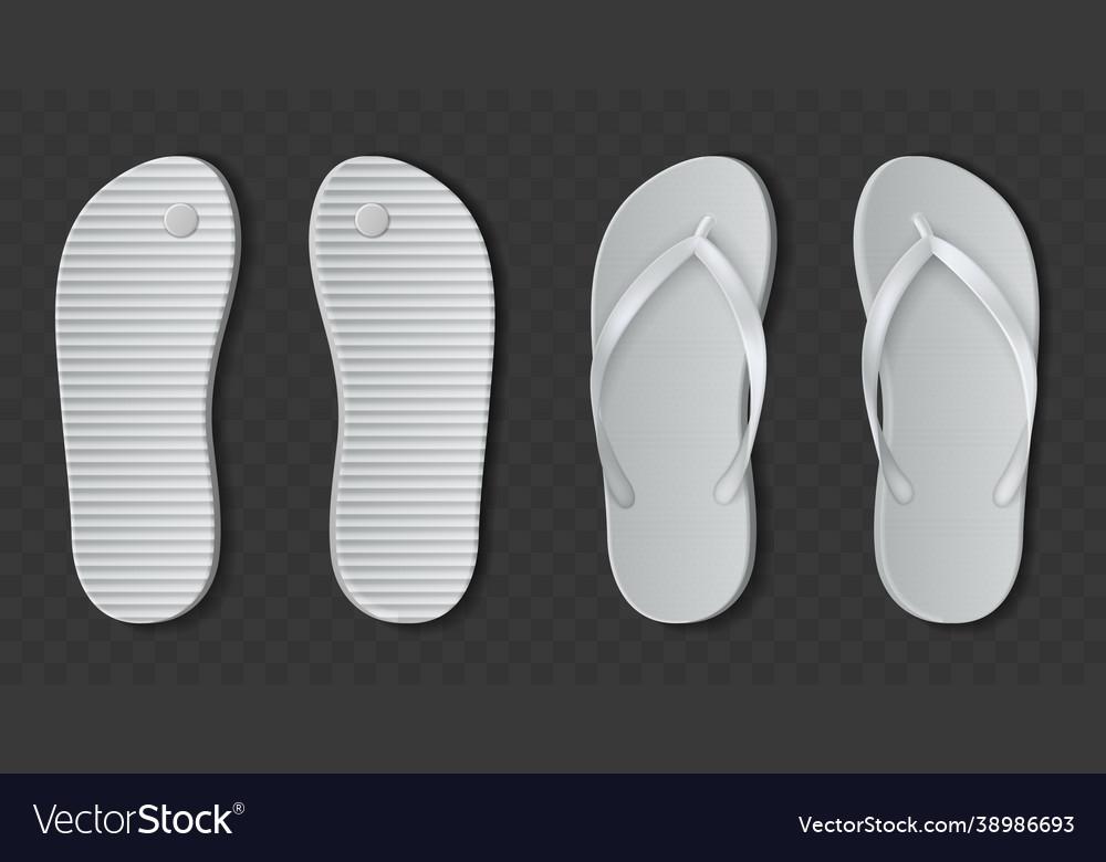 White flip flops sandals realistic beach rubber