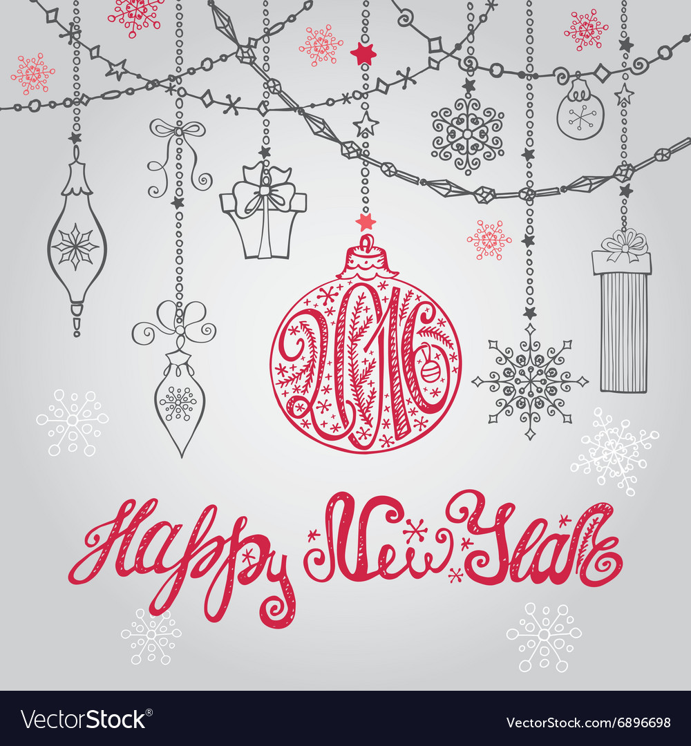2016 New year card with ballgarlands and