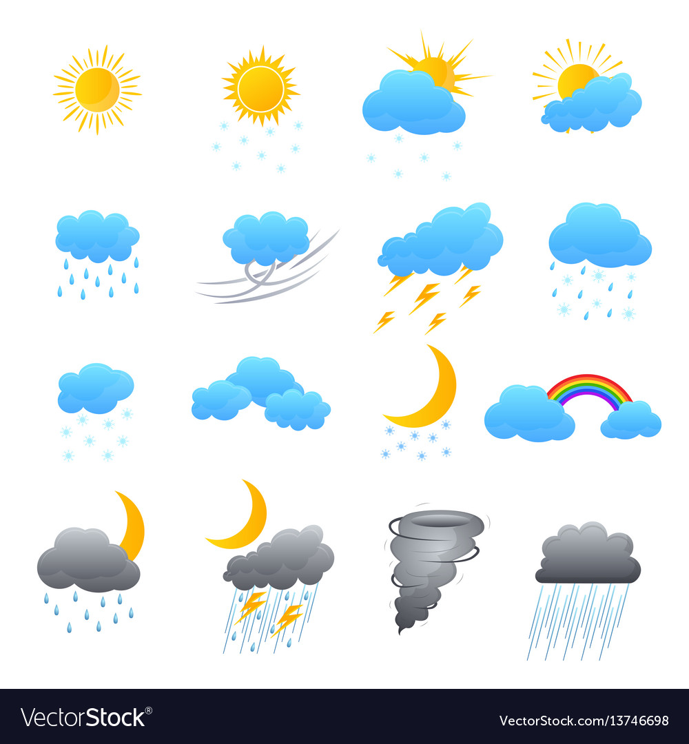 Cartoon weather color icons set