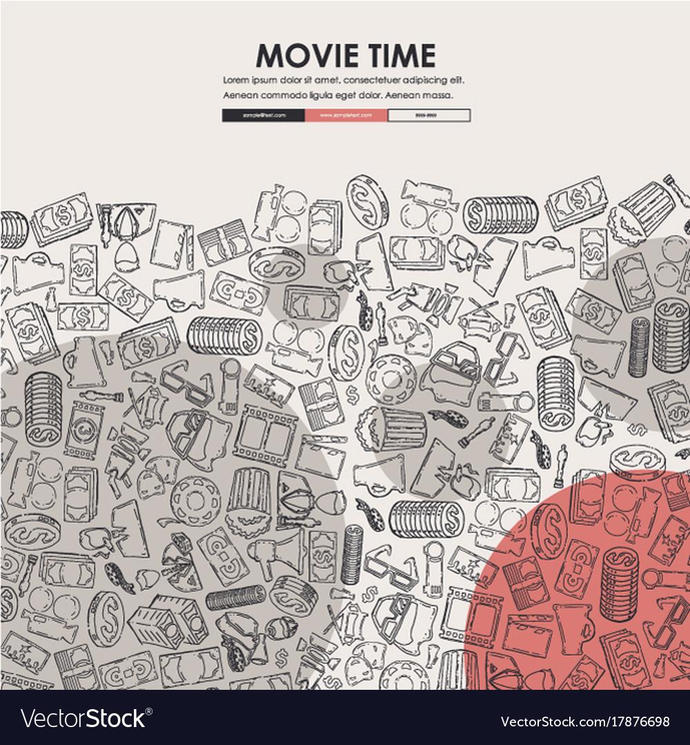 cinema doodle website template design royalty free vector