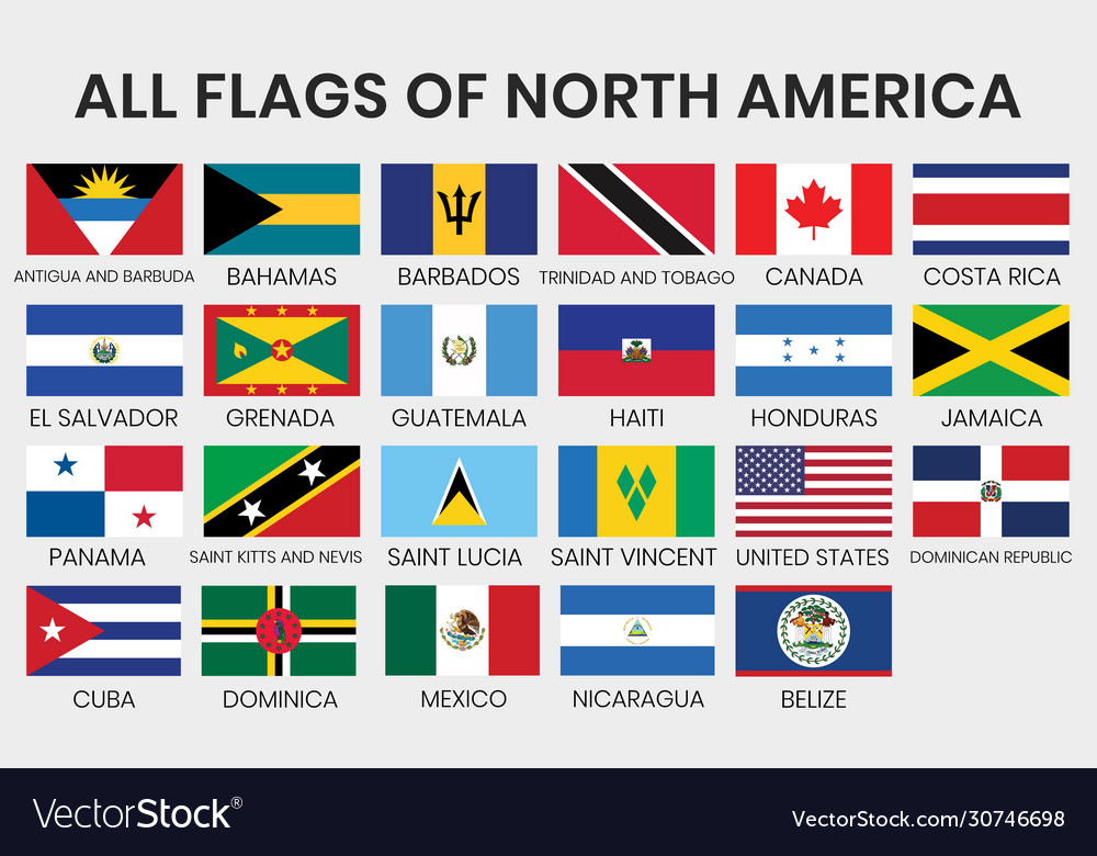 Flags All North America Countries Royalty Free Vector Image